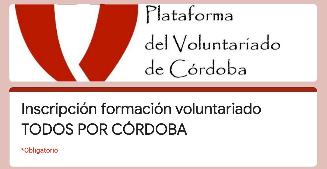 Formulario de formación de la Plataforma de Voluntariado